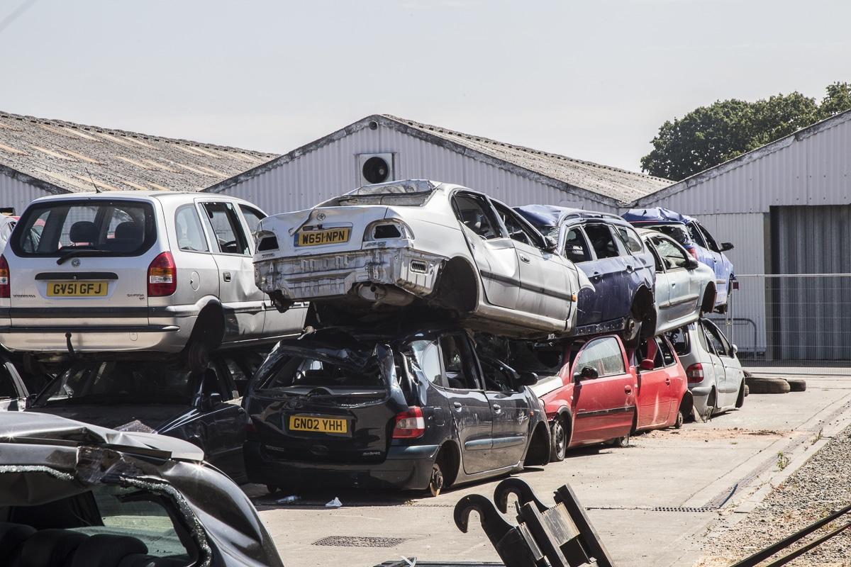 Pile of scrap cars